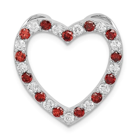 Curata 925 Sterling Silver Garnet and CZ Cubic Zirconia Simulated Diamond Love Heart Pendant Necklace Jewelry Gifts for Women