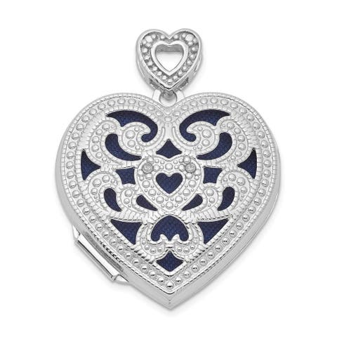 Curata 925 Sterling Silver 24mm Love Heart With Diamond Vintage Photo Locket Pendant Necklace Jewelry Gifts for Women