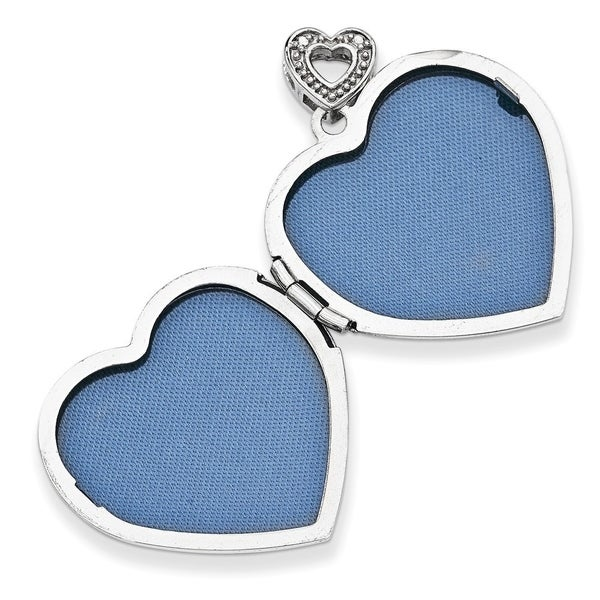 Solid 925 Sterling Silver Heart Polished Enamel Love Pendant 13mm x 24mm