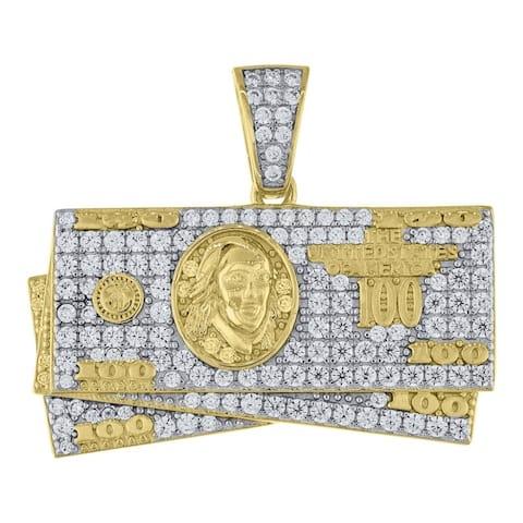 Curata 925 Sterling Silver Yellow tone CZ Cubic Zirconia Simulated Diamond 100 Dollar Bill Cash Mens Pendant Necklace Jewelry Gi