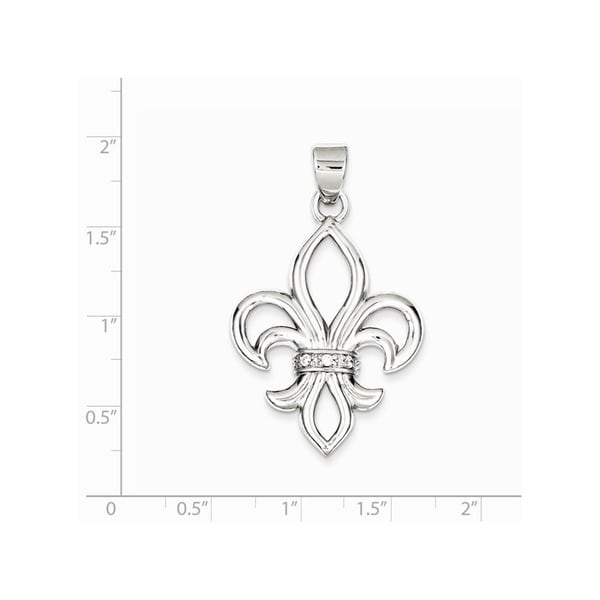 Curata 925 Sterling Silver Solid Polished Open back CZ Cubic Zirconia Simulated Diamond Fleur de Lis Pendant Necklace Jewelry Gi