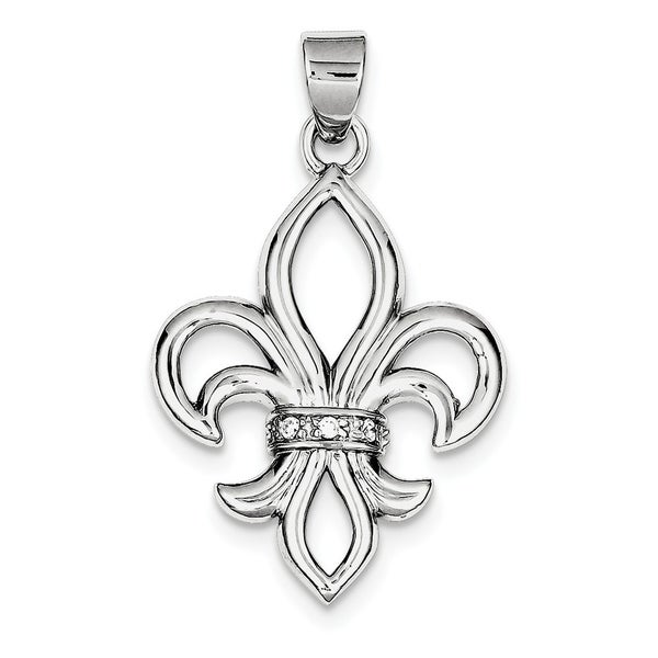 Curata 925 Sterling Silver Solid Polished Open back CZ Cubic Zirconia Simulated Diamond Fleur de Lis Pendant Necklace Jewelry Gi. Opens flyout.