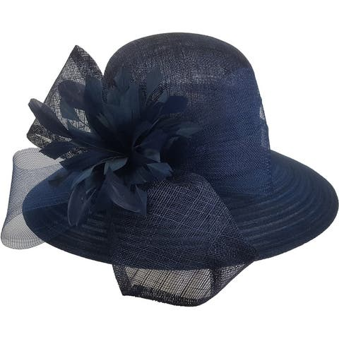 Beautiful designer Derby Easter straw Sinamay Navy hat.