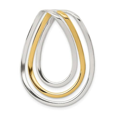 Curata 925 Sterling Silver No bail Polished and 14k Gold Plated Fancy Pendant Necklace Jewelry Gifts for Women