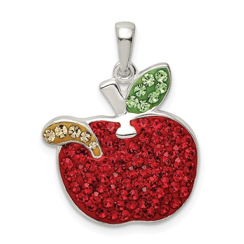 Curata 925 Sterling Silver Red Preciosa Crystal Apple With Worm Pendant Necklace Jewelry Gifts for Women