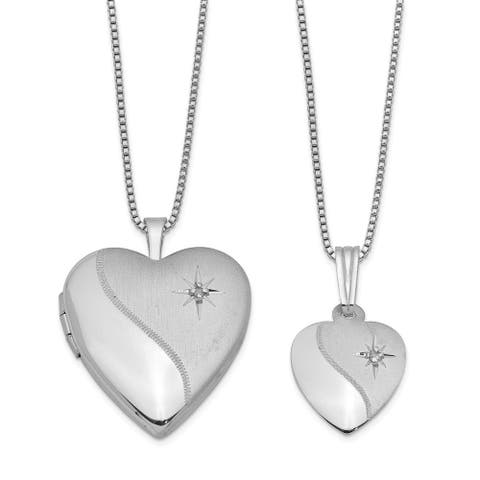 Curata 925 Sterling Silver Diamond Polished Satin Love Heart Locket and Pendant Necklace Set Jewelry Gifts for Women