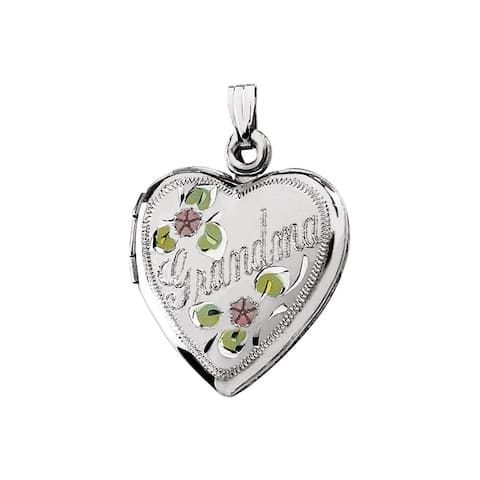 Curata 925 Sterling Silver Tri Color Grandma Love Heart Photo Locket Pendant Necklace 3/4 Inch wide Jewelry Gifts for Women