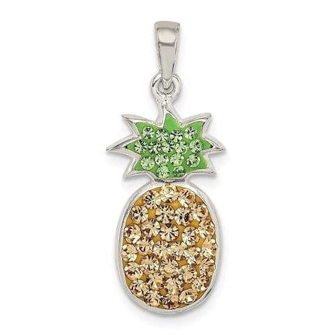 Curata 925 Sterling Silver Yellow Green Preciosa Crystal Pineapple Pendant Necklace Jewelry Gifts for Women