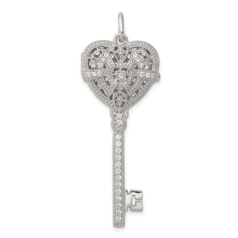 Curata 925 Sterling Silver Textured Polished Open back Rhodium plated CZ Cubic Zirconia Simulated Diamond Love Heart Key Photo L