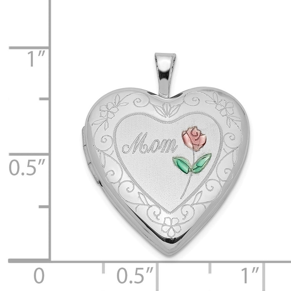 Sterling Silver 20mm Diamond Cut Footprints Heart Locket Solid 20 mm 25 mm Locket Pendants /& Charms Jewelry