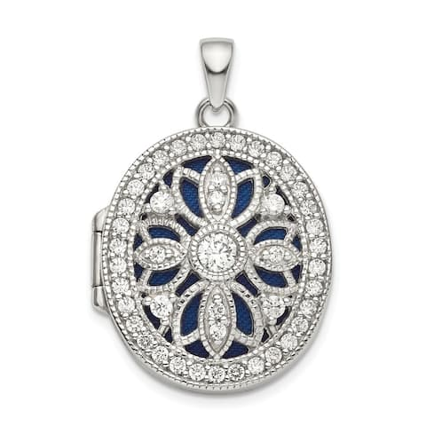 Curata 21mm 925 Sterling Silver Rhodium plated Fancy CZ Cubic Zirconia Simulated Diamond Oval Photo Locket Pendant Necklace Jewe