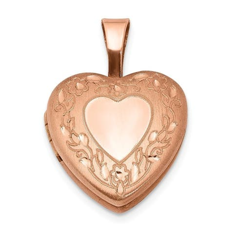 Curata 925 Sterling Silver Rose 14k Gold Plated Flower Border 12mm Love Heart Photo Locket Pendant Necklace Jewelry Gifts for Wo