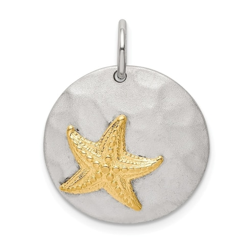 Curata 925 Sterling Silver Gold tone Sea shell Nautical Starfish Brushed Pendant Necklace Jewelry Gifts for Women