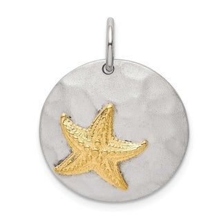 925 Sterling Silver Solid Textured Polished Open back Seashell Charm