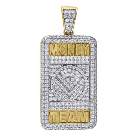 Curata Yellow tone 925 Sterling Silver Mens Round CZ Cubic Zirconia Simulated Diamond Money Team Pendant Necklace Jewelry Gifts