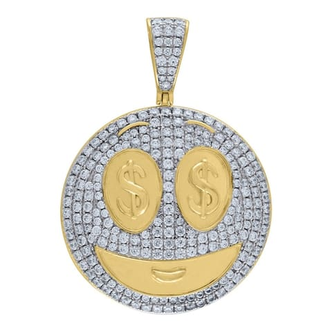Curata 925 Sterling Silver Mens Two tone CZ Cubic Zirconia Simulated Diamond Emboli Dollar Sign Eyes Pendant Necklace Jewelry Gi