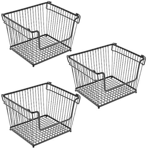 Stackable Metal Storage Organizer Bin Basket - Large, 3 Pack