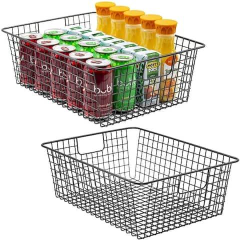 Metal Wire Food Organizer Storage Bin Baskets- 2 Pack
