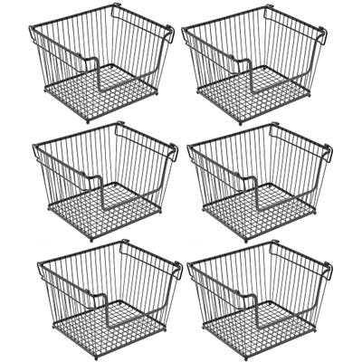 Stackable Metal Storage Organizer Bin Basket - Large, 6 Pack