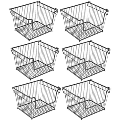 Stackable Metal Storage Organizer Bin Basket - Large, 6 Pack