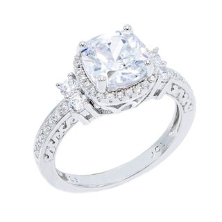 Link to Cubic Zirconia Cushion Cut Center with Double Round Cut Side CZs Engagement Ring Similar Items in Rings