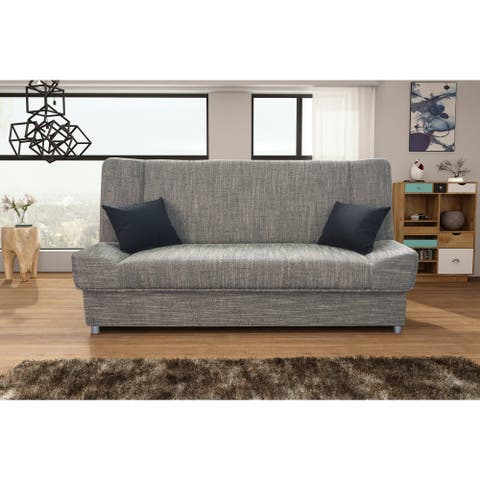 Arlington Grey Fabric Armless Sleeper Sofa with Storage