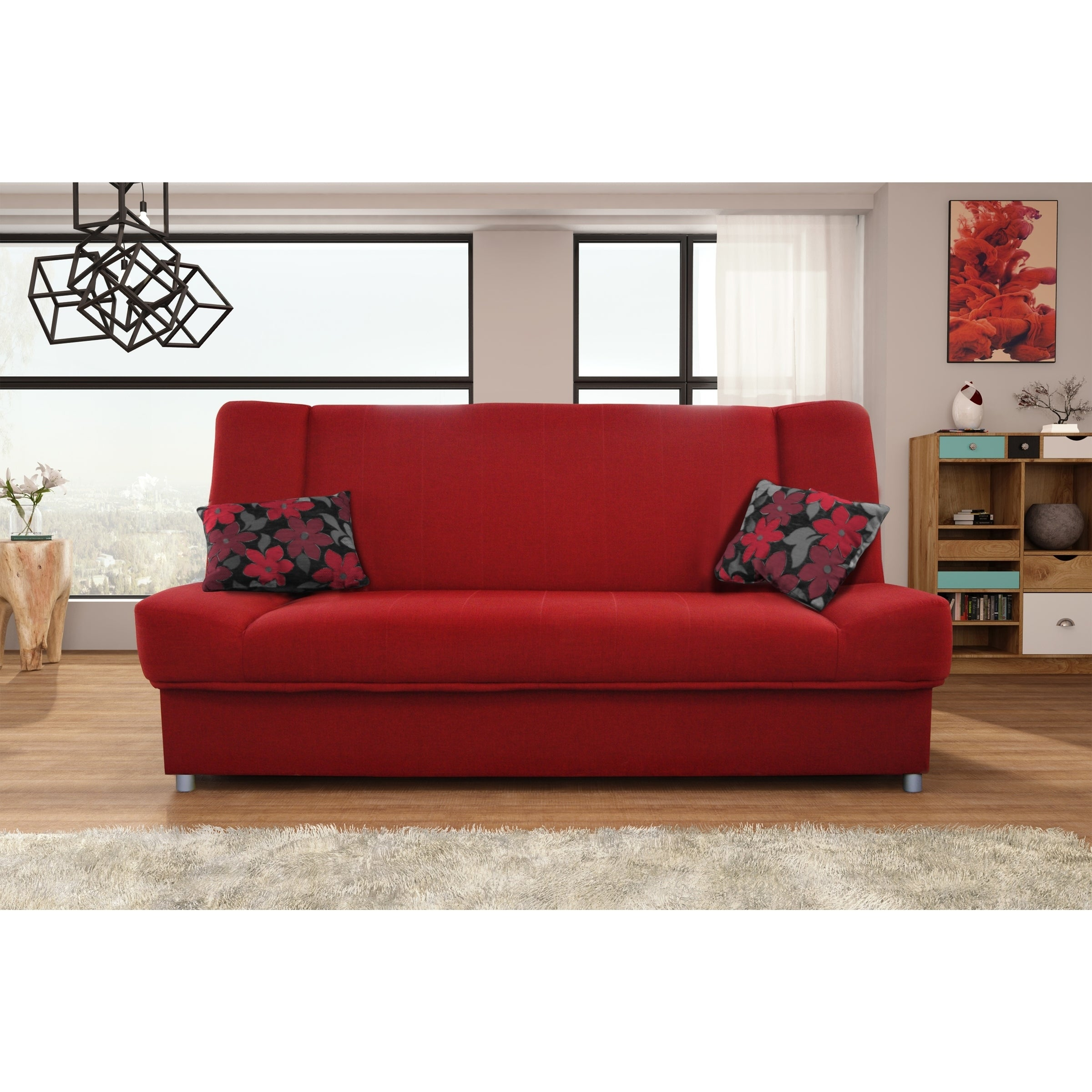 Picture of: Arlington Red Fabric Armless Sleeper Sofa With Storage On Sale Overstock 30990653