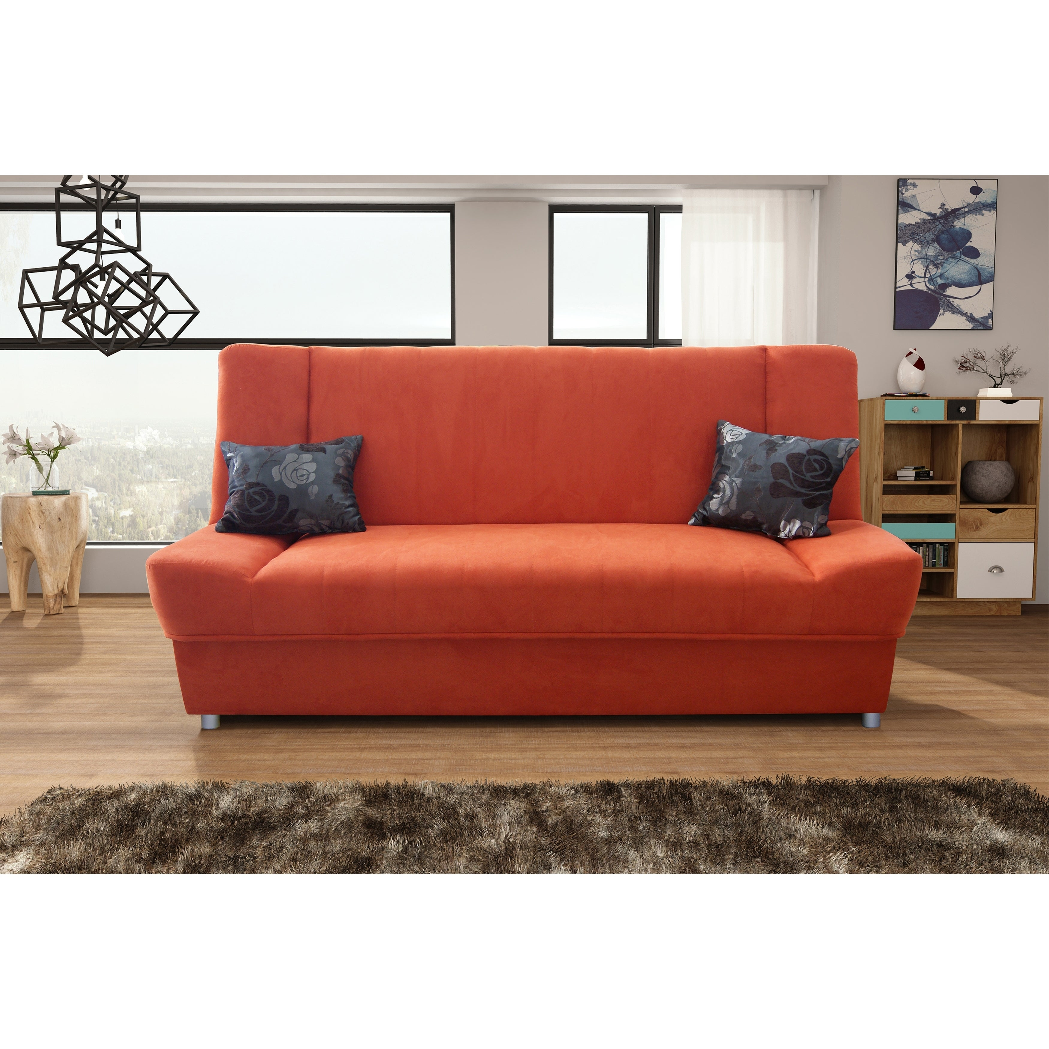- Shop Arlington Orange Fabric Armless Sleeper Sofa With Storage