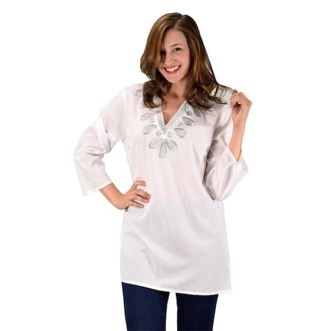 Peach Couture Womens Embroidered Cover-up Swimwear Beachwear Tunic