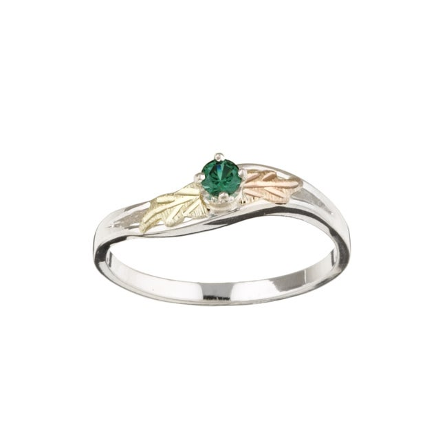Black Hills Gold and Sterling Silver May Birthstone Ring