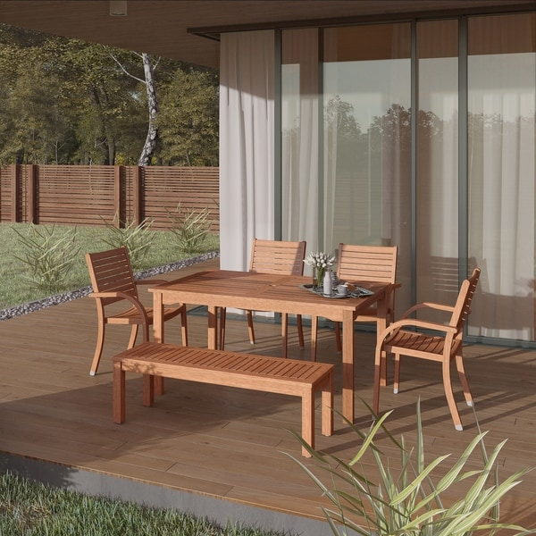 Popham Eucalytpus 6-piece Patio Dining Set by Havenside Home. Opens flyout.