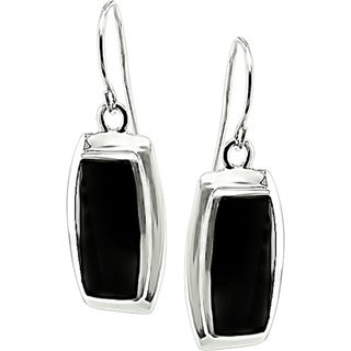 Miadora Sterling Silver Rectangular Black Onyx Earrings