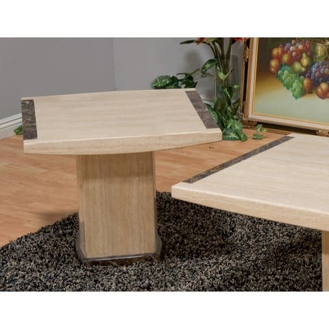 Best Master Furniture Beige / Brown Marble End Table