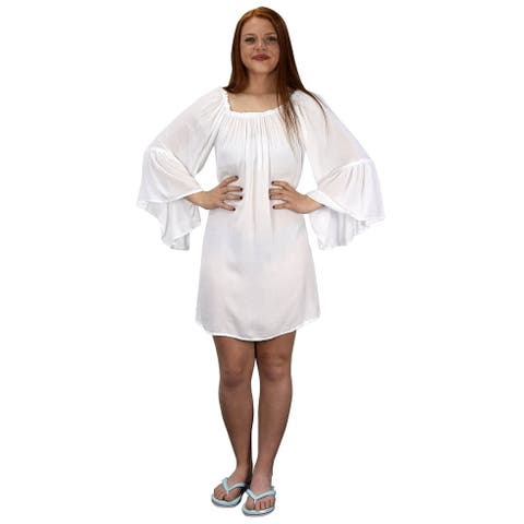 Peach Couture White Shoulder Flutter Sleeve Beach Cover Ups