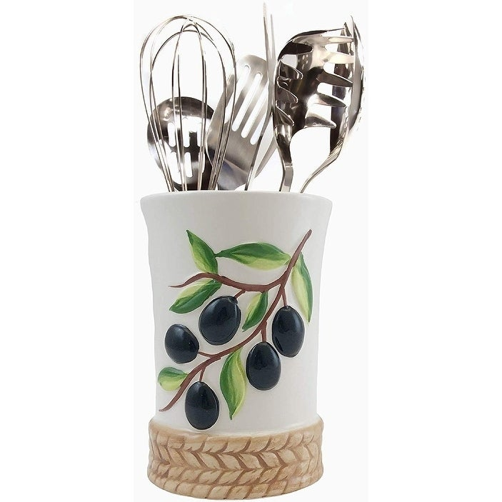 Decorative Olive Design Utensil Holder Caddy with Sturdy No-Tip Weighted Base, Rust Proof and Dishwasher Safe