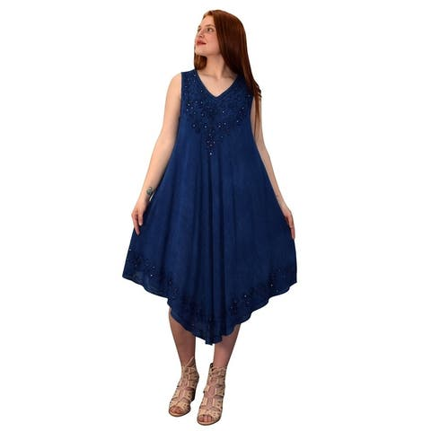 Peach Couture Classic Denim Hem Caftan Dress Long Tunic Cover Up