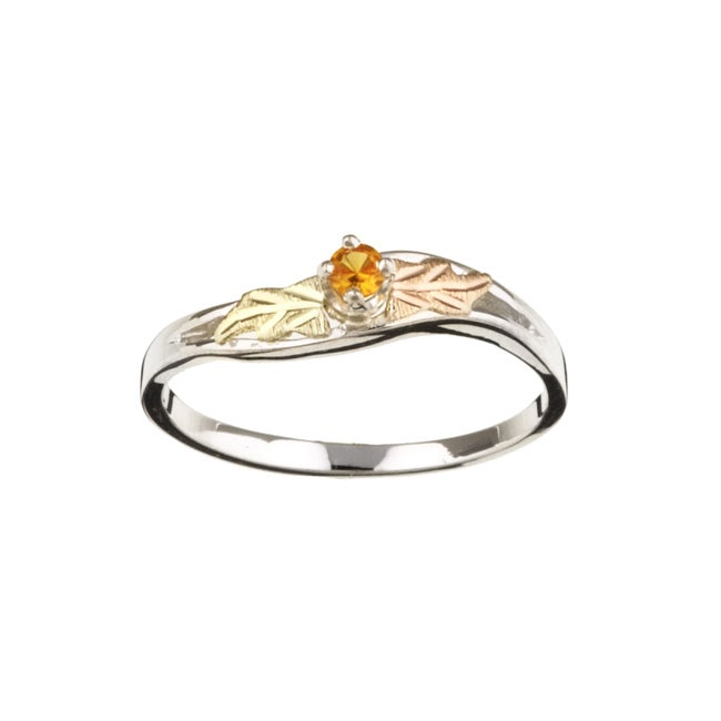 Black Hills Gold and Sterling Silver November Birthstone Ring
