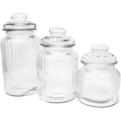Decorative Kitchen Counter Top Glass Canister Set - Cookies Coffee Sugar (3 Pieces)