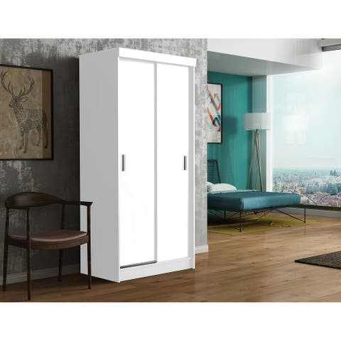 Hicksville Solid Wood 36 Inch White Armoire