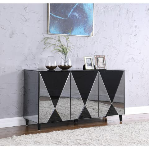 "Somette Contemporary Gloss Black & Clear Mirror Front Buffet - 17.72""W x 59.06""D x 31.5""H"