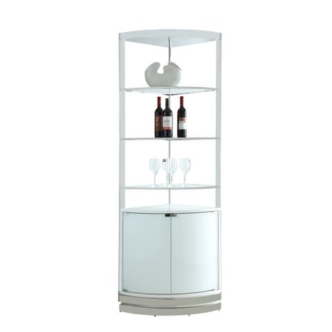 """Somette Super White/Polished Stainless Steel Open-Back Corner Curio - 20.87""""W x 20.87""""D x 80.71""""H"""