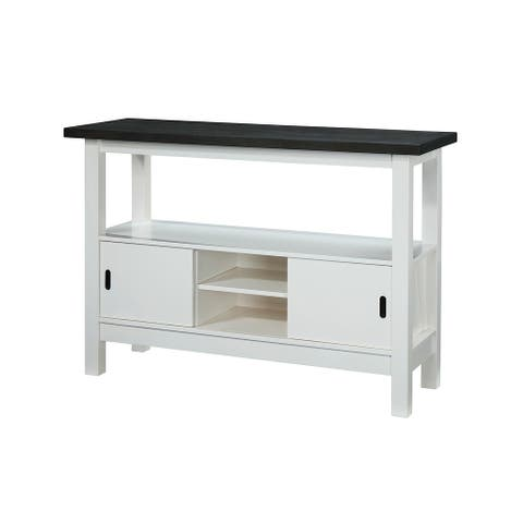 """Somette Gray/Gloss White Modern Wooden Buffet with Storage - 17.7""""W x 52""""D x 36""""H"""