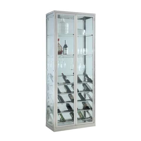"Somette Clear/Chrome Contemporary Glass Curio with Wine Storage - 31.5""W x 15.75""D x 82.36""H"