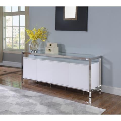 "Somette Clear/Gloss White Modern Buffet - 19.69""W x 78.74""D x 31.1""H"