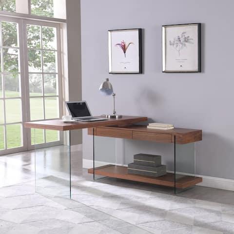 Somette Rotatable Glass and Walnut Veneer Wooden Desk