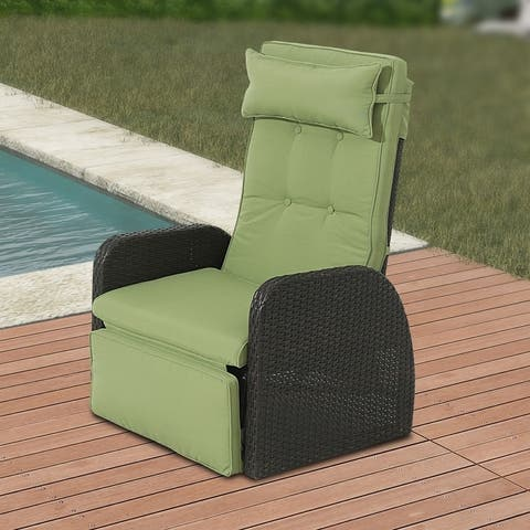Outdoor Wicker Recliner with Green Cushion
