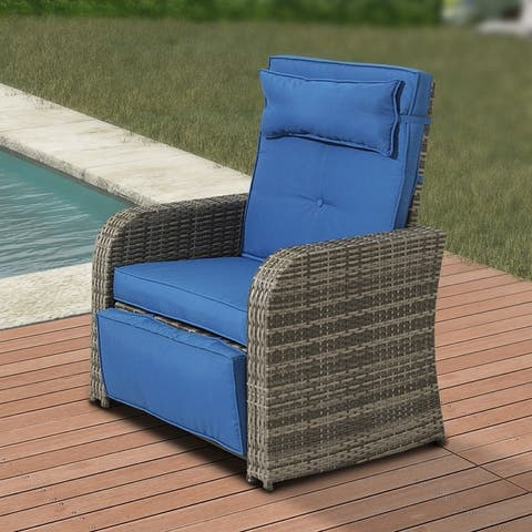 Outdoor Wicker Recliner with Blue Cushion