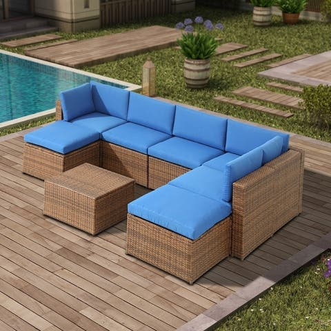 8-Piece Outdoor Wicker Patio Conversation Set with Blue Cushions
