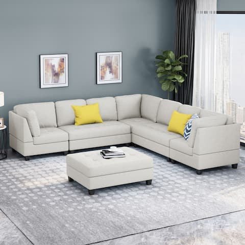 Findon Contemporary 7 Seater Fabric Sectional by Christopher Knight Home