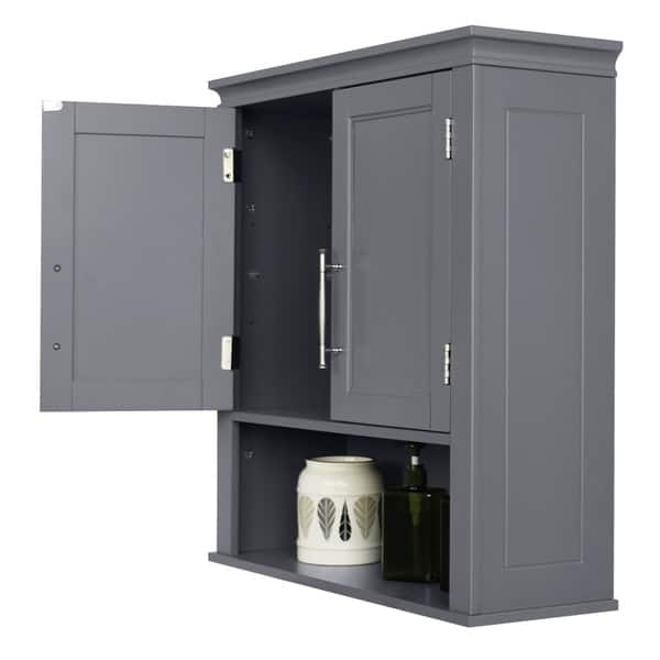Fch Double Door Bathroom Wall Mount Cabinet Grey Overstock 30993330